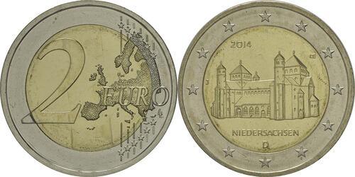 Lieferumfang :Deutschland : 2 Euro Niedersachsen - Michaeliskirche Hildesheim Buchstabe unserer Wahl  2014 bfr