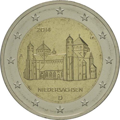 Rückseite :Deutschland : 2 Euro Niedersachsen - Michaeliskirche Hildesheim  2014 Stgl.