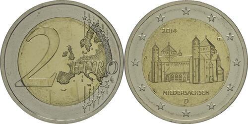 Lieferumfang:Deutschland : 2 Euro Niedersachsen - Michaeliskirche Hildesheim  2014 Stgl.