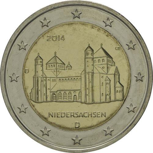 Rückseite:Deutschland : 2 Euro Niedersachsen - Michaeliskirche Hildesheim  2014 Stgl.