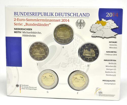 Lieferumfang :Deutschland : 2 Euro Niedersachsen - Michaeliskirche Hildesheim Komplettsatz 5x2 Euro  2014 Stgl.