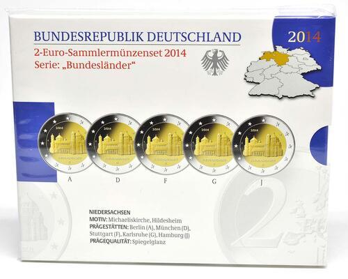 Lieferumfang :Deutschland : 2 Euro Niedersachsen - Michaeliskirche Hildesheim 5x2 Euro im Set  2014 PP