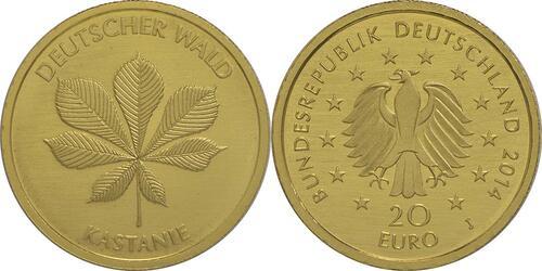 Lieferumfang :Deutschland : 20 Euro Kastanie Buchstabe unserer Wahl  2014 Stgl.