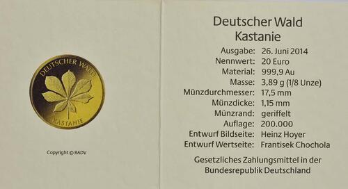 Zertifikat :Deutschland : 20 Euro Kastanie Buchstabe unserer Wahl  2014 Stgl.