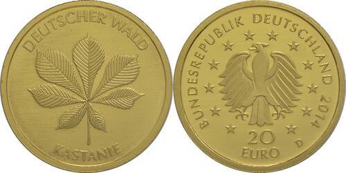 Lieferumfang :Deutschland : 20 Euro Kastanie  2014 Stgl.