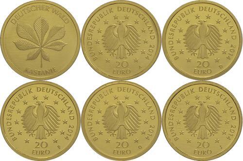 Lieferumfang:Deutschland : 20 Euro Kastanie Komplettsatz ADFGJ  2014 Stgl.