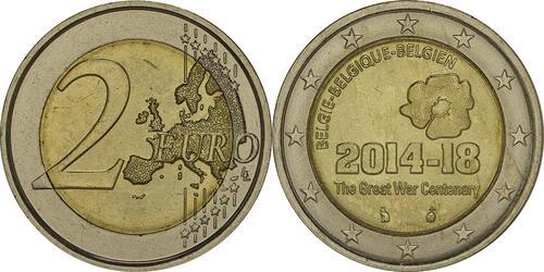 Lieferumfang :Belgien : 2 Euro 100. Jahrestag des Beginns des 1. Weltkrieges  2014 bfr