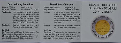 Zertifikat :Belgien : 2 Euro 100. Jahrestag des Beginns des 1. Weltkrieges  2014 PP