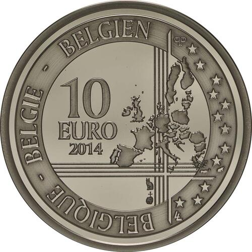 Rückseite:Belgien : 10 Euro 100. Jahrestag des Beginns des 1. Weltkrieges  2014 PP