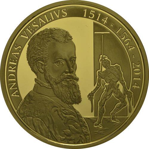 Vorderseite:Belgien : 100 Euro 500. Geburtstag von Andreas Vesalius  2014 PP