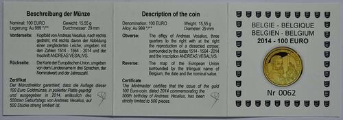 Zertifikat:Belgien : 100 Euro 500. Geburtstag von Andreas Vesalius  2014 PP