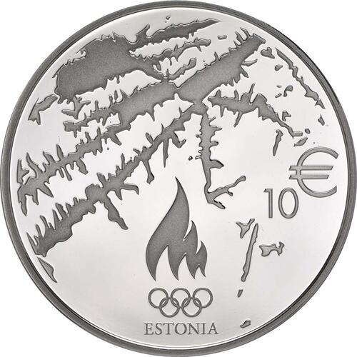 Rückseite:Estland : 10 Euro Olympische Winterspiele in Sotschi 2014  2014 PP