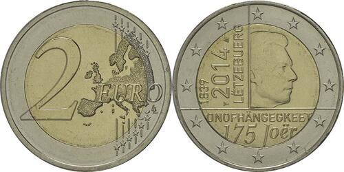 Lieferumfang :Luxemburg : 2 Euro 175 Jahre Unabhängigkeit Luxemburgs  2014 bfr