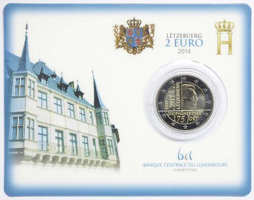Lieferumfang :Luxemburg : 2 Euro 175 Jahre Unabhängigkeit Luxemburgs  2014 Stgl.