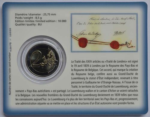 Zertifikat :Luxemburg : 2 Euro 175 Jahre Unabhängigkeit Luxemburgs  2014 Stgl.