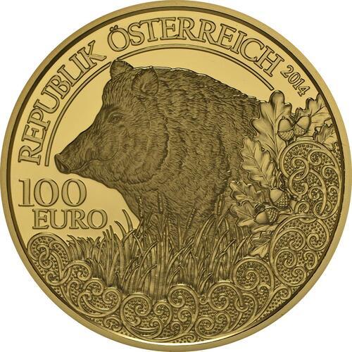 Vorderseite:Österreich : 100 Euro Wildschwein  2014 PP