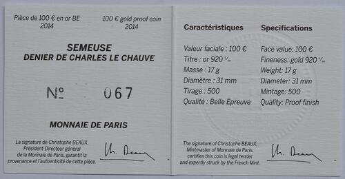 Zertifikat:Frankreich : 100 Euro Karl der Kahle  2014 PP