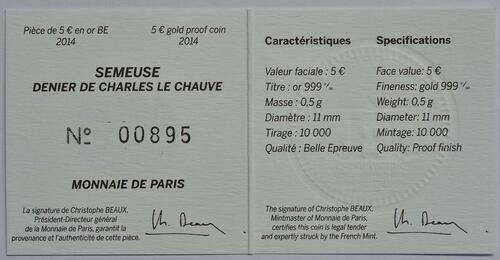 Zertifikat:Frankreich : 5 Euro Karl der Kahle  2014 PP