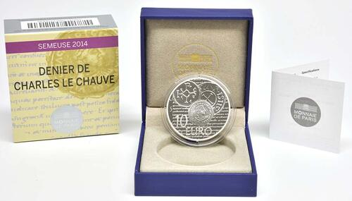 Lieferumfang:Frankreich : 10 Euro Karl der Kahle  2014 PP