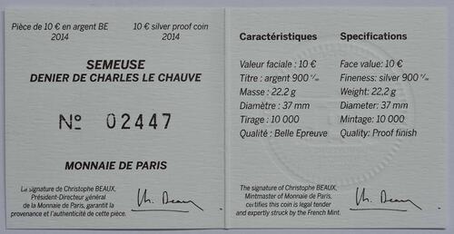 Zertifikat:Frankreich : 10 Euro Karl der Kahle  2014 PP