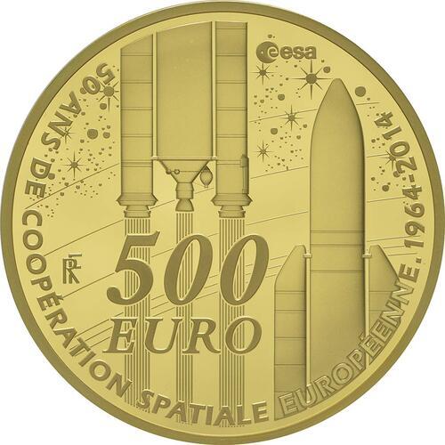 Vorderseite:Frankreich : 500 Euro Europäische Weltraumorganisation ESA  2014 PP
