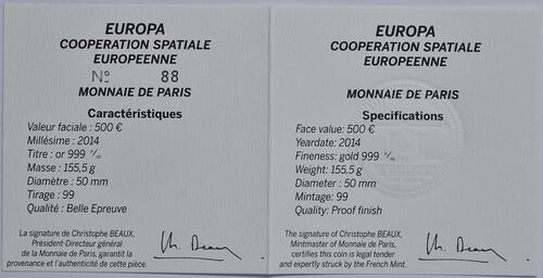 Zertifikat:Frankreich : 500 Euro Europäische Weltraumorganisation ESA  2014 PP