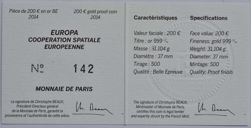 Zertifikat:Frankreich : 200 Euro Europäische Weltraumorganisation ESA  2014 PP