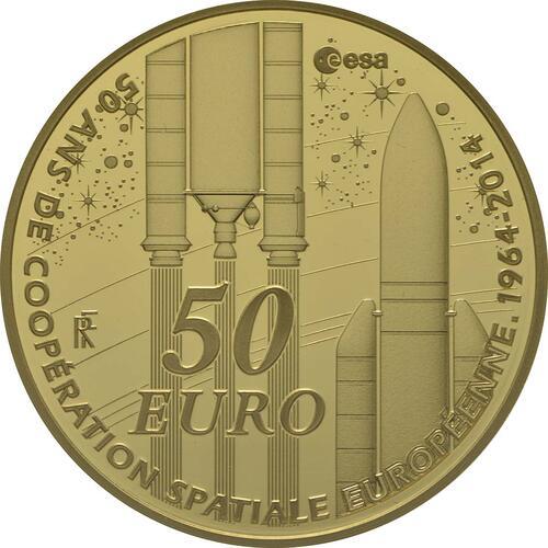 Vorderseite:Frankreich : 50 Euro Europäische Weltraumorganisation ESA  2014 PP