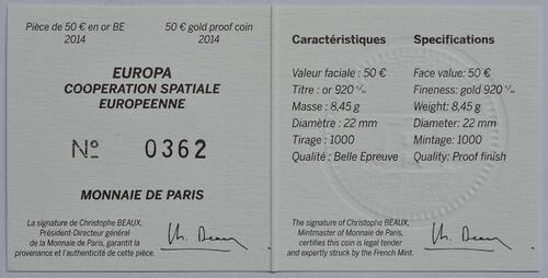Zertifikat:Frankreich : 50 Euro Europäische Weltraumorganisation ESA  2014 PP