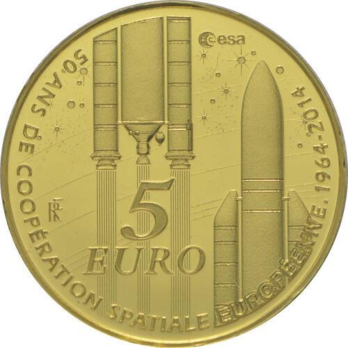 Vorderseite:Frankreich : 5 Euro Europäische Weltraumorganisation ESA  2014 PP