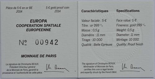 Zertifikat:Frankreich : 5 Euro Europäische Weltraumorganisation ESA  2014 PP