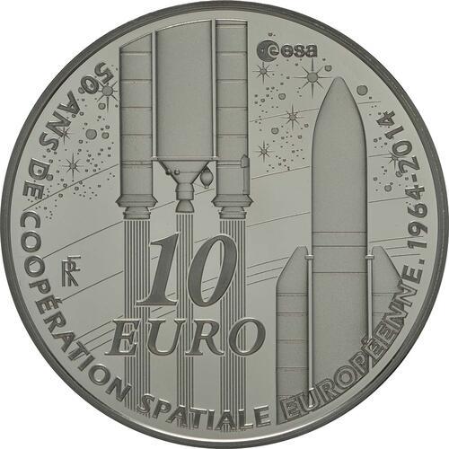 Vorderseite:Frankreich : 10 Euro Europäische Weltraumorganisation ESA  2014 PP