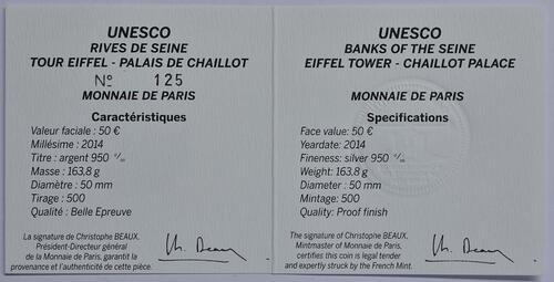 Zertifikat:Frankreich : 50 Euro Ufer der Seine  2014 PP