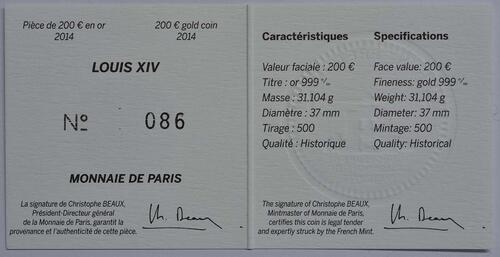 Zertifikat:Frankreich : 200 Euro Louis XIV.  2014 Stgl.
