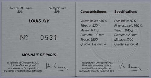 Zertifikat:Frankreich : 50 Euro Louis XIV.  2014 Stgl.