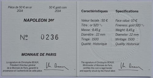 Zertifikat:Frankreich : 50 Euro Napoleon I.  2014 Stgl.