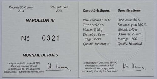 Zertifikat:Frankreich : 50 Euro Napoleon III.  2014 Stgl.