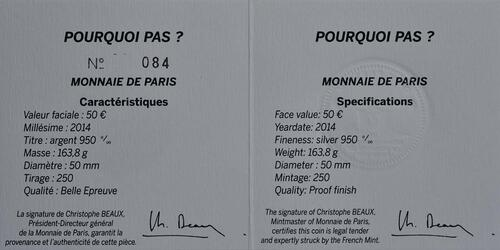 Zertifikat:Frankreich : 50 Euro Pourquoi Pas  2014 PP