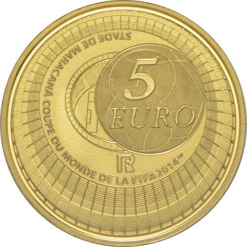 Rückseite:Frankreich : 5 Euro Fußball WM  2014 PP