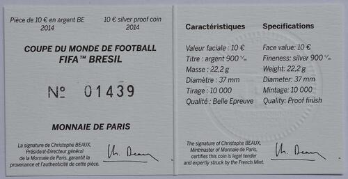 Zertifikat:Frankreich : 10 Euro Fußball WM  2014 PP