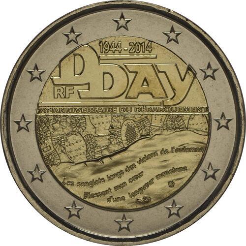 Rückseite:Frankreich : 2 Euro D-Day  2014 bfr