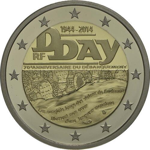 Rückseite:Frankreich : 2 Euro D-Day  2014 PP