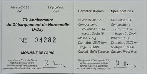 Zertifikat:Frankreich : 2 Euro D-Day  2014 PP