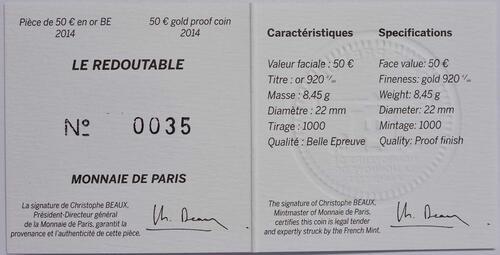 Zertifikat:Frankreich : 50 Euro Redoutable  2014 PP