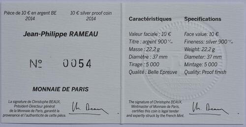 Zertifikat:Frankreich : 10 Euro Jean Baptiste Rameau  2014 PP