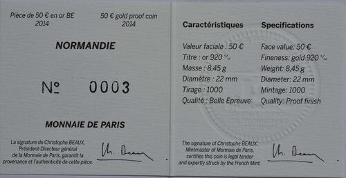 Zertifikat:Frankreich : 50 Euro Le Normandie  2014 PP