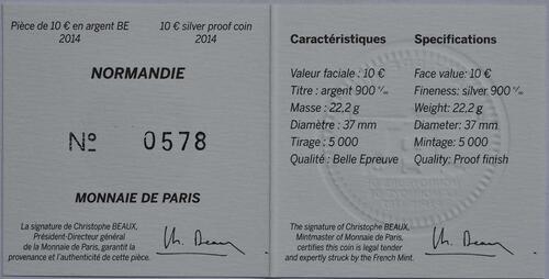 Zertifikat:Frankreich : 10 Euro Le Normandie  2014 PP