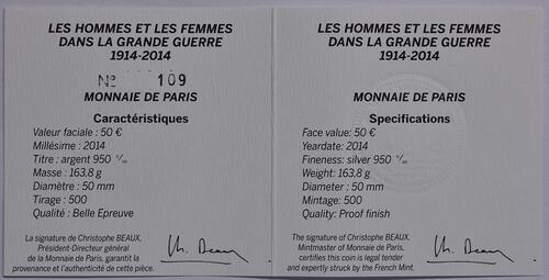 Zertifikat:Frankreich : 50 Euro Frankreich im 1. Weltkrieg  2014 PP