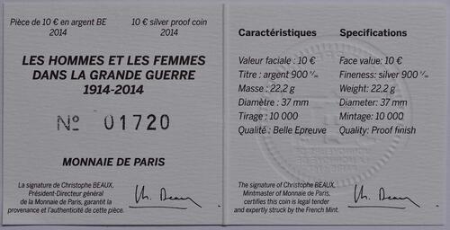 Zertifikat:Frankreich : 10 Euro Frankreich im 1. Weltkrieg  2014 PP