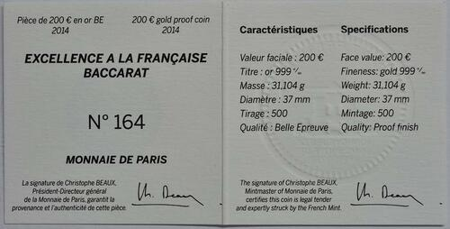 Zertifikat:Frankreich : 200 Euro 250 Jahre Baccarat Kristallglasmanufaktur  2014 PP